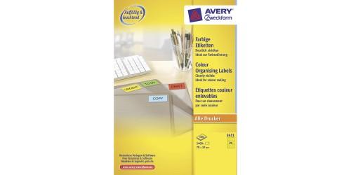 Avery Laser+Copy 37x70 geel-3451