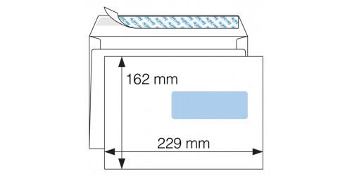 Vensterenvelop 162x229mm wit Strip
