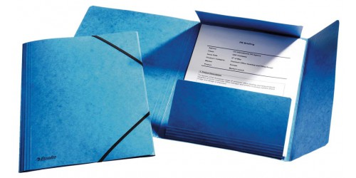Klepmap glanskarton A4 blauw + ela