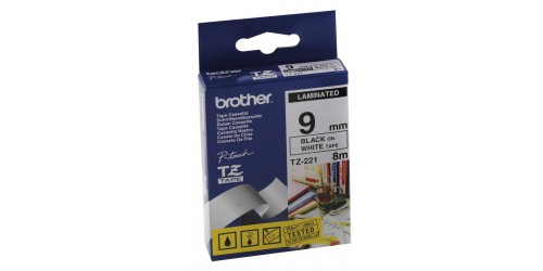 Brother tape TZe221 9mm zwart/wit
