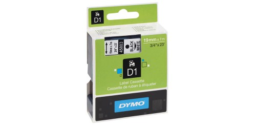 Tape Dymo zwart/wit 19 mm - 45803