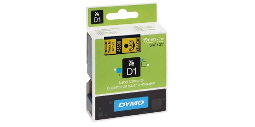Tape Dymo zwart/geel 19mm - 45808
