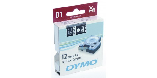Tape Dymo wit/zwart 12 mm-45021