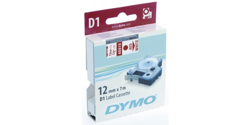 Tape Dymo rood/wit 12 mm-45015