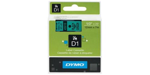 Tape Dymo zwart/groen 12 mm-45019