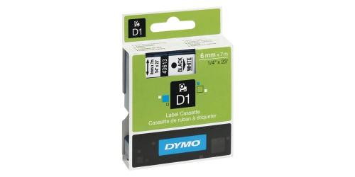Tape Dymo zwart/wit 6 mm-43613