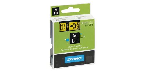 Tape Dymo zwart/geel 6 mm-43618
