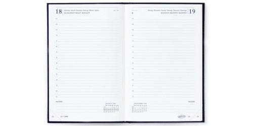 Agenda Saturnus Luxe kort zwart 1dag/pagina