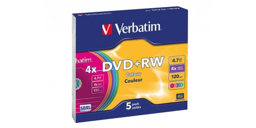 VERBATIM DVD+RW 4.7GB 4x (5) SC FARBIG