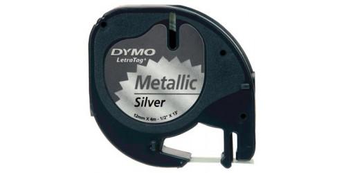 Tape Dymo LetraTag met.zilver91208